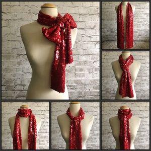 Eileen Fisher 100% Merino Wool Red Sequin Scarf